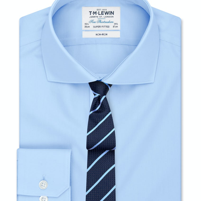 Non-Iron Super Fitted Blue Poplin Shirt