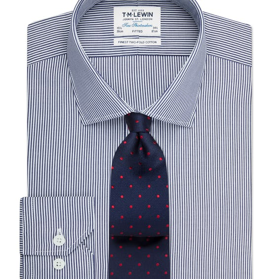 Fitted Navy Bengal Stripe Shirt 0