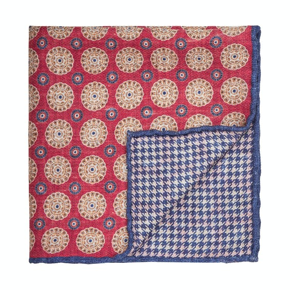 Red Blue Geo Double Faced Silk Pocket Square 0