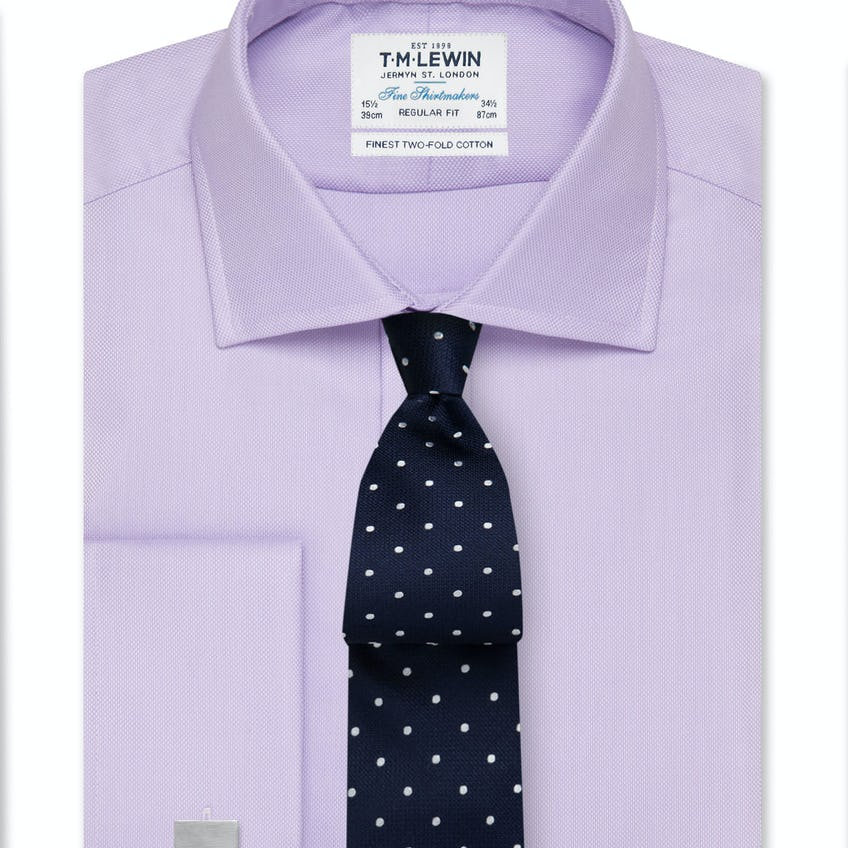 Regular Fit Lilac Oxford Double Cuff Shirt 0