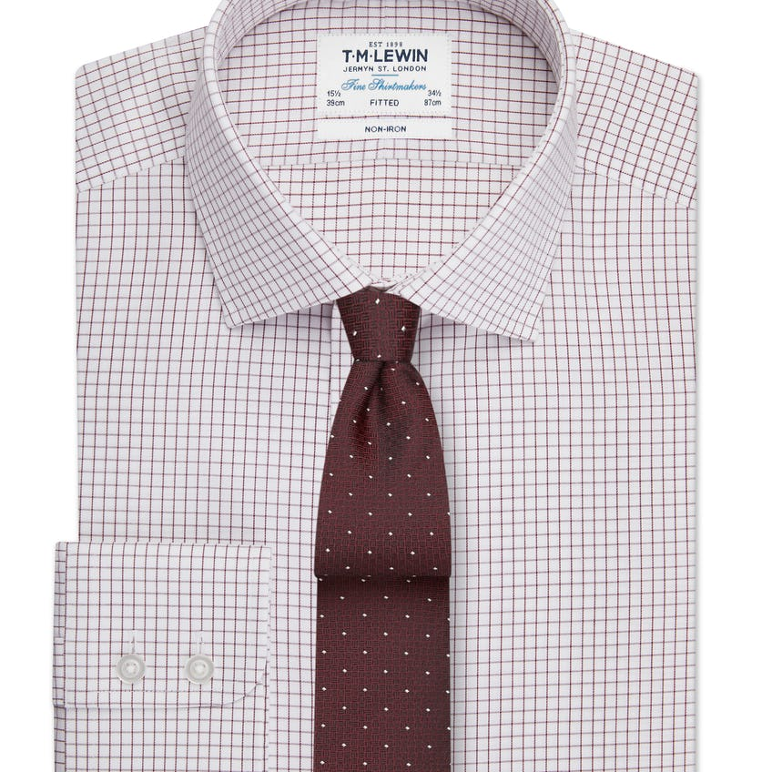 Non-Iron Fitted Burgundy Check Single Cuff Shirt 0