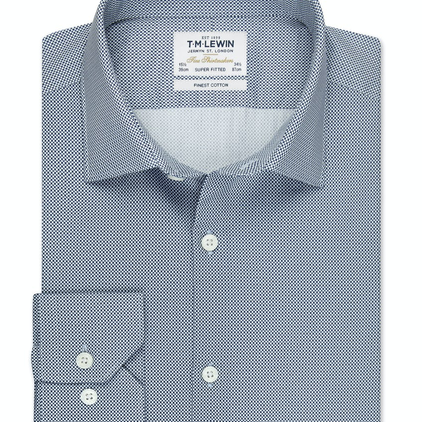 Super Fitted White and Navy Link Shirt 0