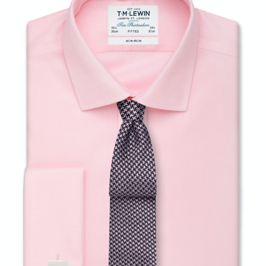 Non-Iron Pink Twill Double Cuff Fitted Shirt 0