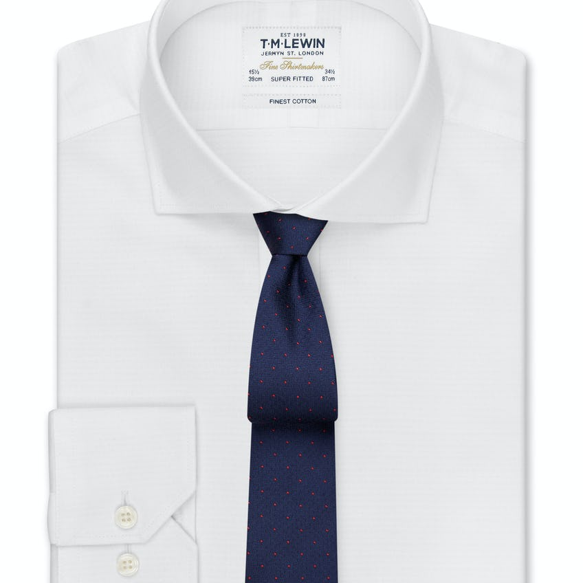 Textured Super Fitted White Dual Cuff Shirt 0