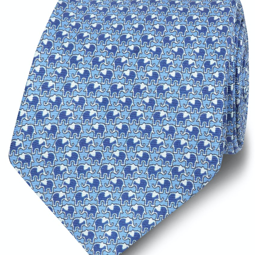 Printed Blue and Navy Elephant Silk Wide Tie 0