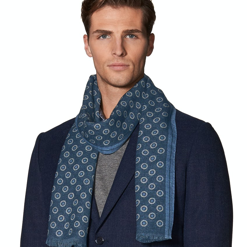 Blue Circle Print with Border Lightweight Wool Scarf 0