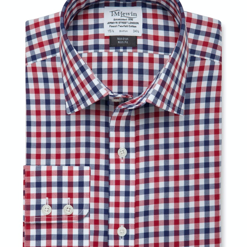 Non-Iron Slim Fit Navy Red Check Twill Shirt 0
