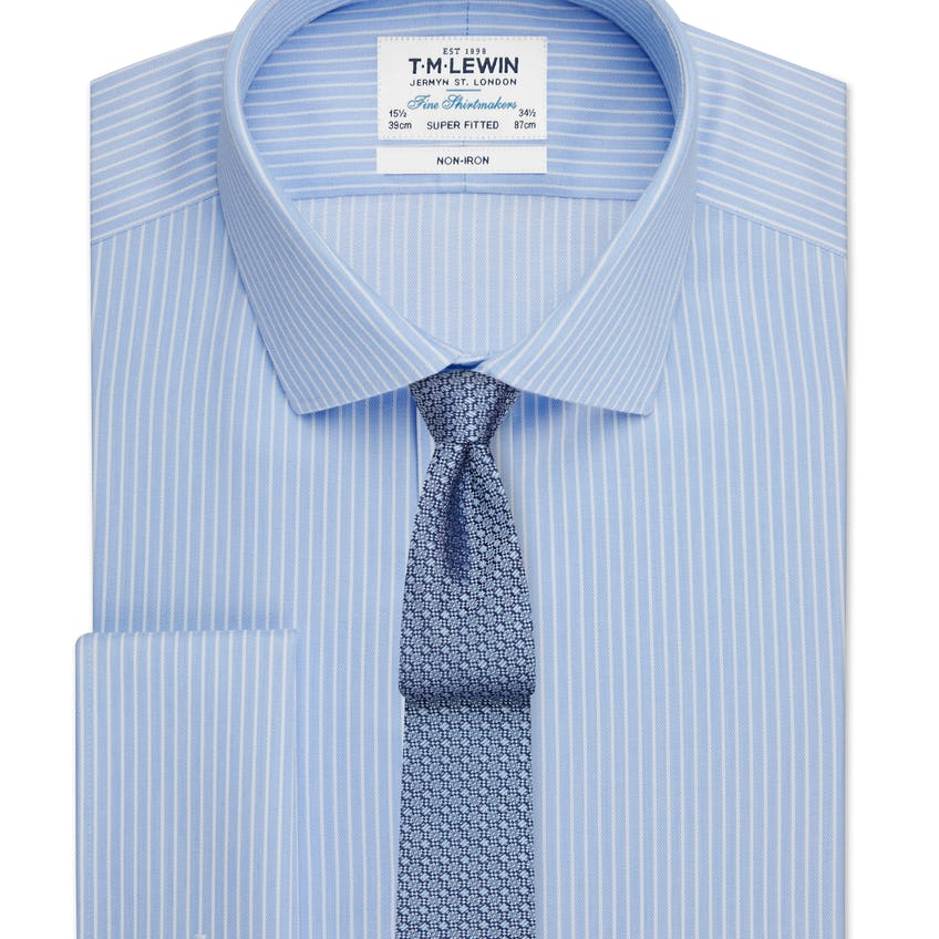 Non-Iron Super Fitted Blue and White Stripe Double Cuff Shirt 0