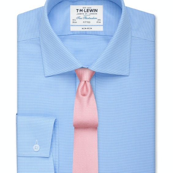 Non-Iron Blue Dogtooth Fitted Shirt 0